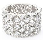 """Eternity Band Ring Flexible-Silvertone-1/2"""" Wide-4 Rows of SHINY CZ's-Sz Select"""
