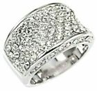 """Band Ring Concave in Silver tone-AAA Clear CZ's-8.3g-1/2"""" Wide-Size Selectable"""