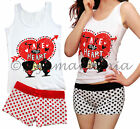 Pyjamas Ladies Summer 2pc Pjs Singlet Short Set (7996) Heart Polka Dots Sz 8 10