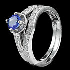 CLASSIC ! REAL ROUND 5mm TOP VIOLET BLUE TANZANITE,W-CZ STERLING 925 SILVER RING