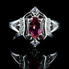 BEAUTIFUL NATURAL 7X5 MM OVAL PINK TOURMALINE, WHITE CZ STERLING 925 SILVER RING