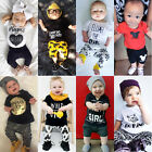 Toddler Infant Kids Baby Boy Girl Clothes Romper Tops T-shirt +Pants Outfits Set
