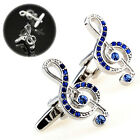 Mens Music Note Shape  Shirt Party Cufflinks Silver Color Wedding Cuff Links