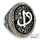 NEW 925 Silver Handmade Mens Gifty Vintage Pattern Mould Ring Alif Waw Letter