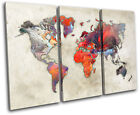 World Atlas Paint Colourful Maps Flags TREBLE CANVAS WALL ART Picture Print
