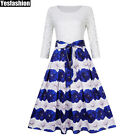 US Women's Blue Flower Lace Floral 3/4 Sleeve Evening Party Cocktail Swing Dress