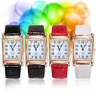 Attractive New Men Women Faux Leather Band Square Dial Quartz Analog Wrist Watch