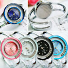 Women New Crystal Bangle Dial Stainless Steel Quartz Analog Bracelet Wrist Watch
