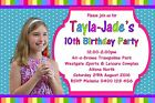 Rainbow Teenage Girls Personalised Birthday Photo Party Invitations Any Name Age