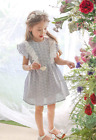 Claude Frill Floral Punch Cotton Lace Dress, Kids Baby Girls Spring Summer Dress