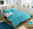 Luxury Duvet Cover & Pillow Set Mega Geo teal&white Quilt Bedding Set All Sizes