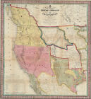 Classic American Frontier map:Texas California and Oregon 1846