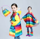 Rainbow Girls Kids Boys Child Back Book Storage Bag Rain Poncho Cape Coat  S~XL