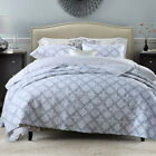Checked Patchwork Quilted Bedspread Coverlet Blanket Throw Rug Queen/King Size