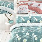 FUNKY SCANDI FLORAL CORAL and TEAL Duvet Cover with Pillowcases ALL SIZES