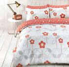 FUNKY SCANDI FLORAL CORAL Duvet Cover with Pillowcases ALL SIZES