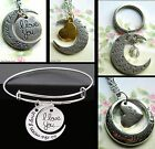 I LOVE YOU TO THE MOON AND BACK NECKLACE PENDANT OR KEYRING OR BRACELET