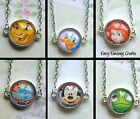 DISNEY CHARACTER GLASS CHARM NECKLACE SIMBA ARIEL MINNIE DONALD PASCAL 16MM