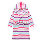 New Pyjamas Girls Winter Fleece Dressing Gown Robe (Sz 8-14) Coloured Strpes (74