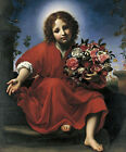 The Infant Christ with a Floral Wreath Oil Painting Religious Jesus Christian AA