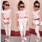 Baby Girls Short Sleeve T-shirt+Pants+Belt Set Clothes Kids Summer Outfits 3Pcs