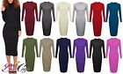 New Women's Ladies Long Sleeve BasicTurtle Neck Plain Midi Dress Plus Sizes 8-26