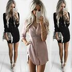 Womens Summer Long Sleeve Casual Blouse Loose Chiffon Tops Ladies T Shirt Dress