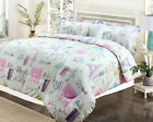 Twin or Full Bedding Girls Comforter Bed Set, Paris Eiffel Tower Pink Purple фото