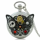 Butterfly Design Antique Steampunk Pocket Watch Chain Pendant Necklace Mens Gift