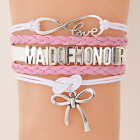 Custom name colors MAID OF HONOUR Bracelet Bowknot Bracelets Wedding Jewelry