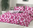 Tie Dyed Pink Reversible Duvet Set Quilt Cover Bedding & Pillow Case Bedroom Set
