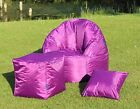 Bright Purple Shower Proof Outdoor Garden Bean Bag Chairs/Footstool & Cushions