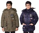 Boys Never Stop Riding Padded Quilted Jacket Fuax fur Hooded Parka
