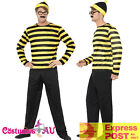 Adult Where's Wally Costume Mens Odlaw Yellow Wheres Waldo Fancy Dress Book Week