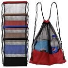 Mesh Drawstring Backpack Tote Sport Pack Swimming Shopping Bag Beach Pack
