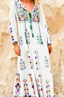 Womens Bohemia full length dress embroidery long sleeve casual beach Spring New