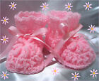 NEW CROCHET BABY REBORN DOLL BOOTIES PINK WHITE LAVENDER PEACH NEWBORN 0-3 M