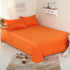 Orange Sheet Set Pillowcases Queen/King Size Bed Solid  Flat Fitted Sheet New