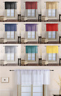 sheer yellow curtains - 1PC Solid Voile Sheer Straight Window Valance Topper Waterfall Rod Pocket V16