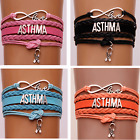 Custom name infinity Love Asthma Hope Ribbon Courage Awareness Bracelet jewelry