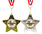Silver or Gold, Metal School Sports Day Medal and Ribbon, Star Shape
