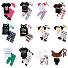 3PCS Toddler Kids Baby Girl T-shirt Tops Long Pants Headband Clothes Outfits Set