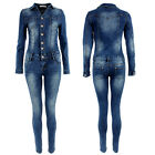 Womens Denim Jumpsuit Overall One Piece Stretch Slim Fit Blue Wash Button Down