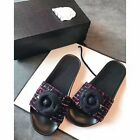 Women's Camellia Flower Leather Insole Tweed Slides Sandals Size 5-11 3 Colors