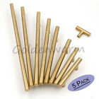 """5 PCS Gold T Bar Stainless Steel Cabinet Door Handles Drawer Pulls Knobs 2""""-13"""