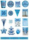 16 / 16th Birthday Blue Glitz Party Range - Party/Plates/Napkins/Banners/Cups