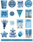 70 / 70th Birthday Blue Glitz Party Range - Party/Plates/Napkins/Banners/Cups