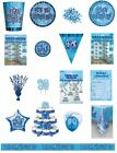 90 / 90th Birthday Blue Glitz Party Range - Party/Plates/Napkins/Banners/Cups