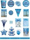 100 / 100th Birthday Blue Glitz Party Range - Party/Plates/Napkins/Banners/Cups