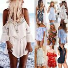 Women Summer Mini Playsuit Beach Shorts Dress Ladies Jumpsuit 6-14 Party Holiday